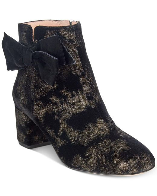 Kate Spade | Black Langley Bow Booties | Lyst
