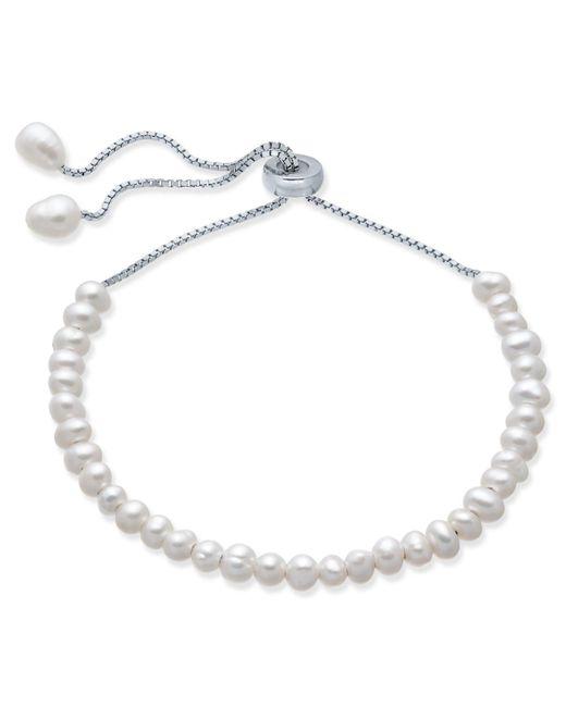 Macy's - Metallic Cultured Freshwater Pearl (4mm) Bolo Bracelet In Sterling Silver - Lyst