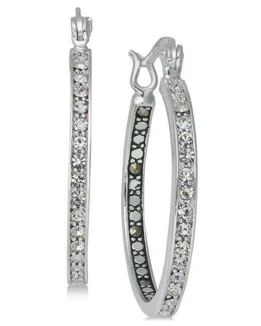 Macy's | Metallic Marcasite (1 Ct. T.w.) & Crystal Inside Out Hoop Earrings In Fine Silver-plate | Lyst