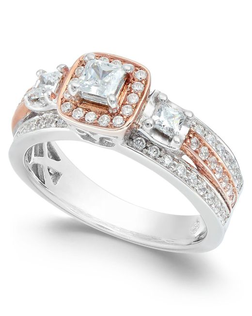Macy's Metallic Diamond Two Tone Ring (1 Ct. T.w.) In 14k White Gold And 14k Rose Gold