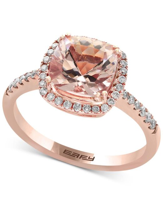 Effy Collection - Metallic Morganite (1-5/8 Ct. T.w.) And Diamond (1/4 Ct. T.w.) Ring In 14k Rose Gold - Lyst