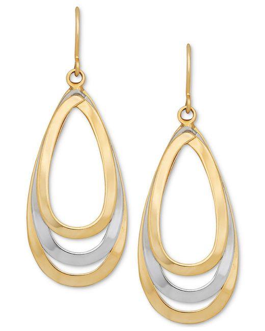 Macy's | Metallic Two-tone Teardrop Openwork Drop Earrings In 14k Gold & White Gold | Lyst