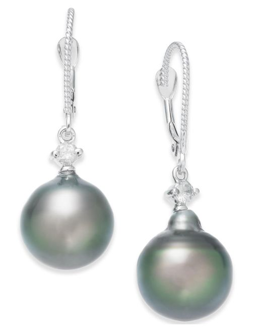 Macy's - Multicolor Cultured Baroque Tahitian Black Pearl (11mm) And Diamond (1/6 Ct. T.w.) Drop Earrings In 14k White Gold - Lyst
