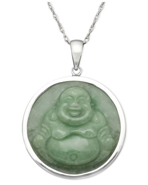 Macy's - Green Sterling Silver Necklace, Jade Carved Buddha Pendant - Lyst