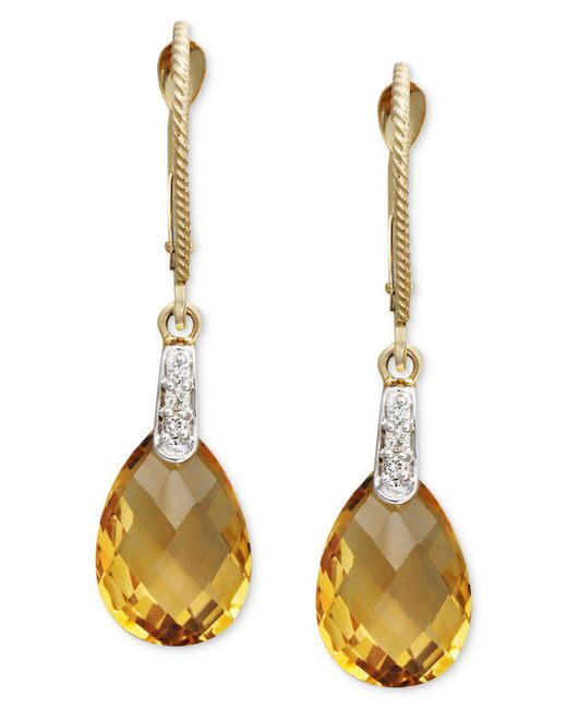 Macy's | Metallic 14k Gold Earrings, Citrine (5-1/3 Ct. T.w.) And Diamond Accent Pear Brio Drop | Lyst