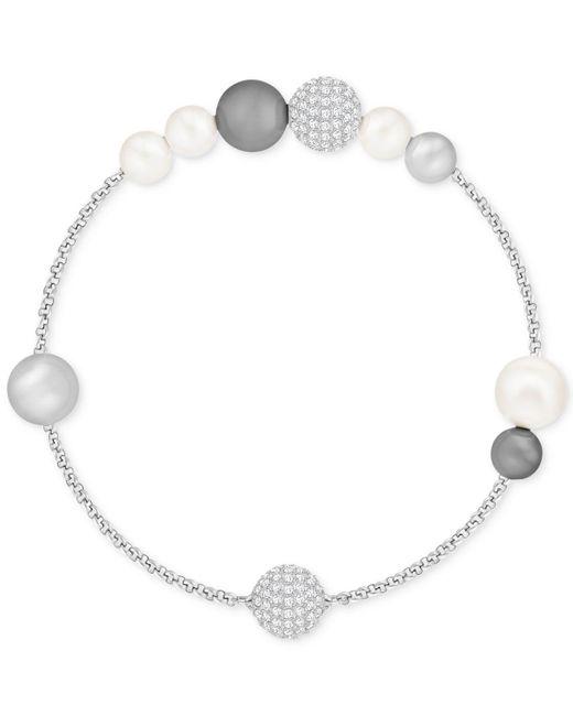 Swarovski - Metallic Pavé Ball & Imitation Pearl Flex Bracelet - Lyst