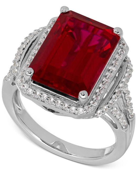 Macy's - Red Lab-created Ruby (10-1/5 Ct. T.w.) White Sapphire (3/8 Ct. T.w.) Ring In Sterling Silver - Lyst