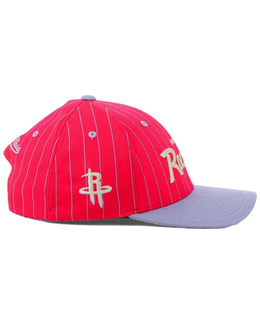 new style d199a f6aa3 ... Lyst Mitchell   Ness - Red Houston Rockets Pinstripe Snapback Cap for  Men ...