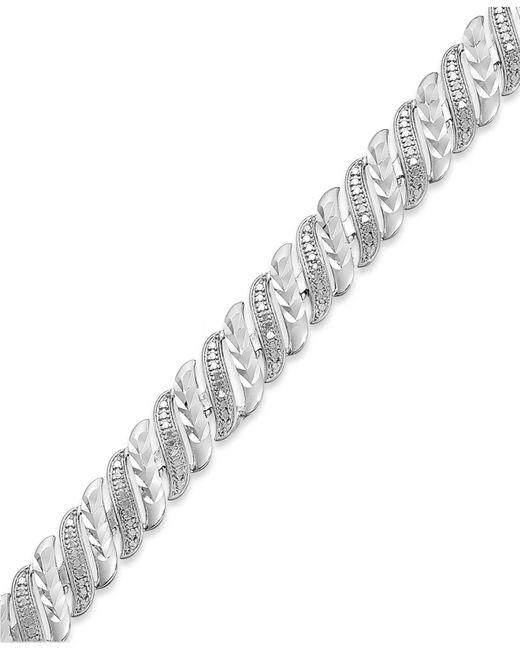 Macy's | Metallic Diamond Accent Swirl Bracelet In Sterling Silver-plated Bronze | Lyst