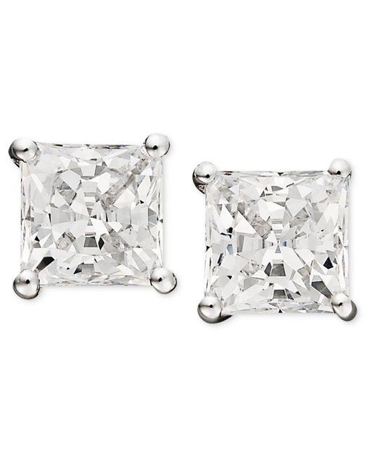 Arabella | Metallic 14k White Gold Earrings, Swarovski Zirconia Princess Cut Stud Earrings (3-3/4 Ct. T.w.) | Lyst