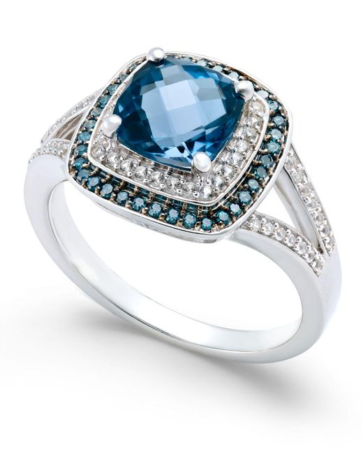 Macy's - London Blue Topaz (1-3/4 Ct. T.w.) And Diamond (1/4 Ct. T.w.) Double Halo Ring In 14k White Gold - Lyst