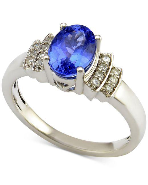 Macy's - Metallic Tanzanite (1 Ct. T.w.) And Diamond (1/10 Ct. T.w.) Ring In 14k White Gold - Lyst