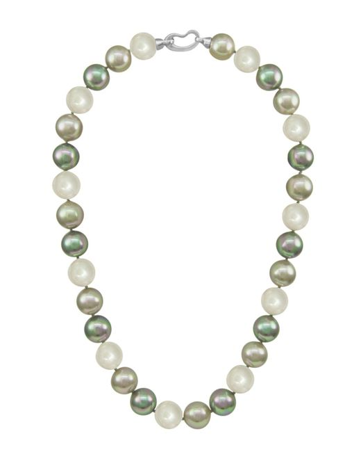 Majorica - White Pearl Necklace, Sterling Silver Multicolor Organic Man Made Pearls - Lyst