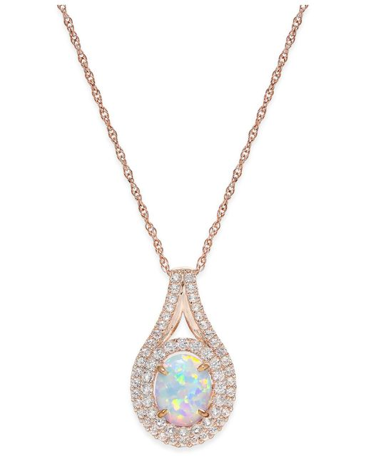 Macy's - Metallic Lab-created Opal (1 Ct. T.w.) And White Sapphire (3/4 Ct. T.w.) Pendant Necklace In 14k Rose Gold-plated Sterling Silver - Lyst