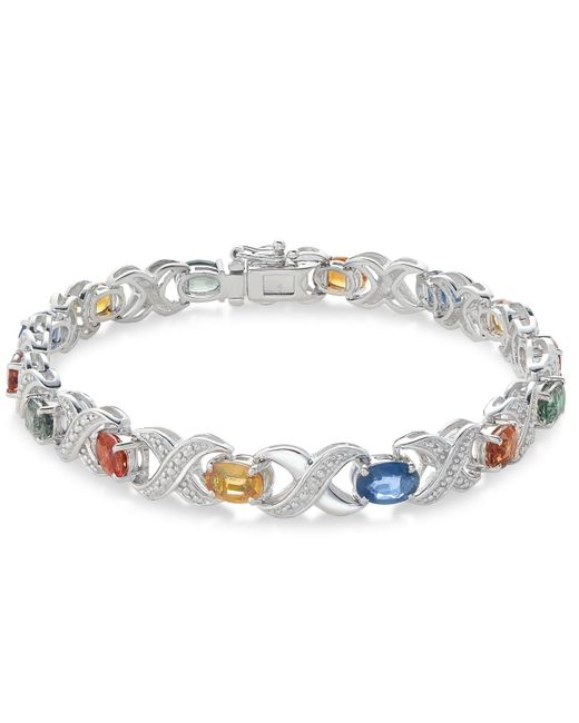 Macy's - Metallic Multi-sapphire (8 Ct. T.w.) And Diamond Accent Link Bracelet In Sterling Silver - Lyst