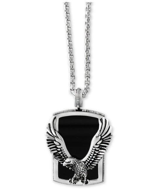 Effy Collection - Metallic Men's Onyx (31 X 20 Mm) Eagle Pendant Necklace In Sterling Silver And Oxidized Silver - Lyst