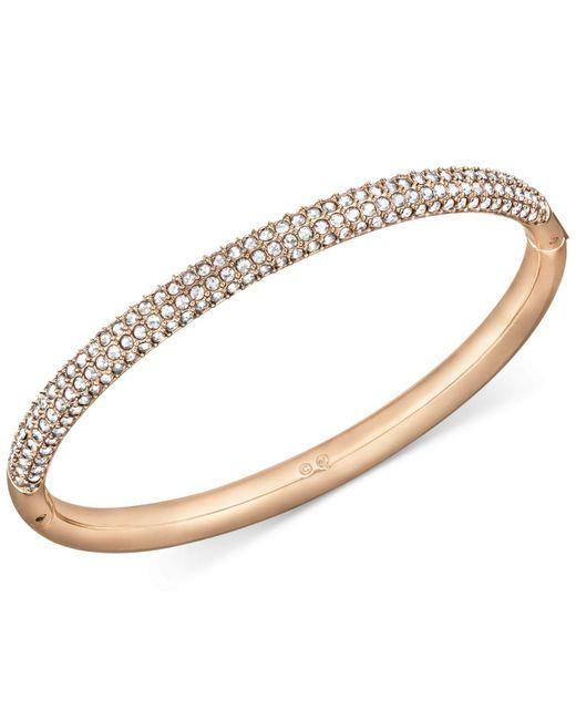 Swarovski - Metallic Rose Gold-tone Crystal Bangle Bracelet - Lyst