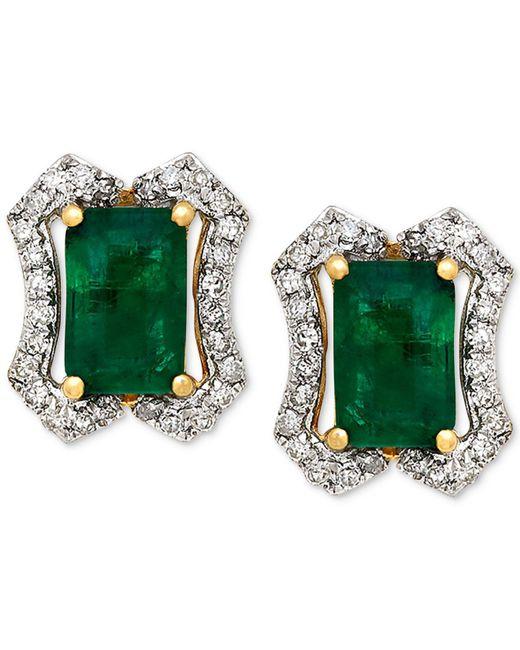 Macy's - Green Emerald (1-1/5 Ct. T.w.) & Diamond (1/6 Ct. T.w.) Stud Earrings (3/8 Ct. T.w.) In 14k Gold - Lyst