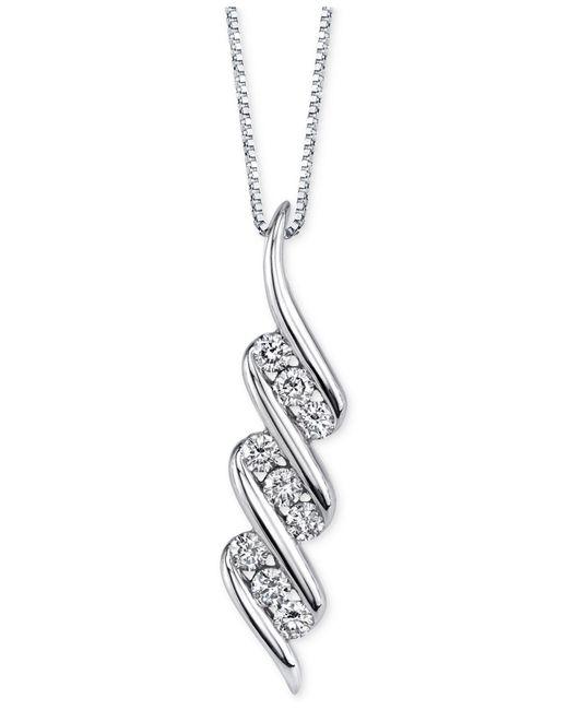 Macy's - Diamond Swirled Pendant Necklace (1/3 Ct. T.w.) In 14k White Gold - Lyst