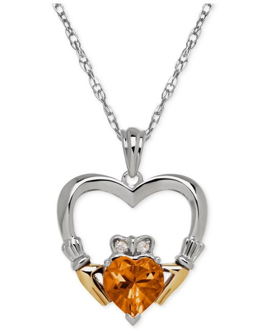Macy's | Metallic Citrine (1-1/10 Ct. T.w.) And Diamond Accent Heart Pendant Necklace In Sterling Silver And 14k Gold | Lyst