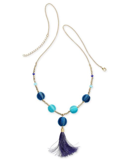 """INC International Concepts - Blue I.n.c. Gold-tone Bead & Wrapped Ball Long Tassel Necklace, 34"""" + 3"""" Extender, Created For Macy's - Lyst"""