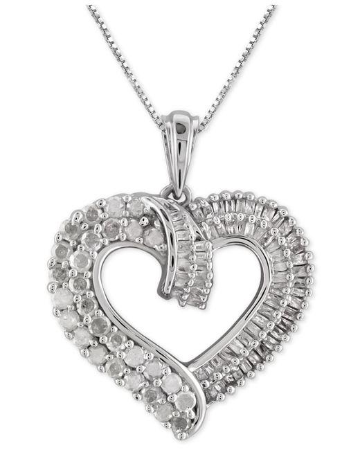 Macy's - Metallic Diamond Heart Pendant Necklace (1 Ct. T.w.) In Sterling Silver - Lyst