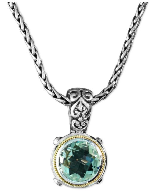 Effy Collection | Metallic Green Quartz Round Pendant (5 Ct. T.w.) In Sterling Silver And 18k Gold | Lyst