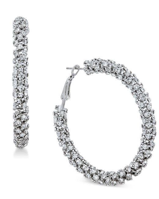 INC International Concepts | Metallic Silver-tone Crystal Hoop Earrings | Lyst