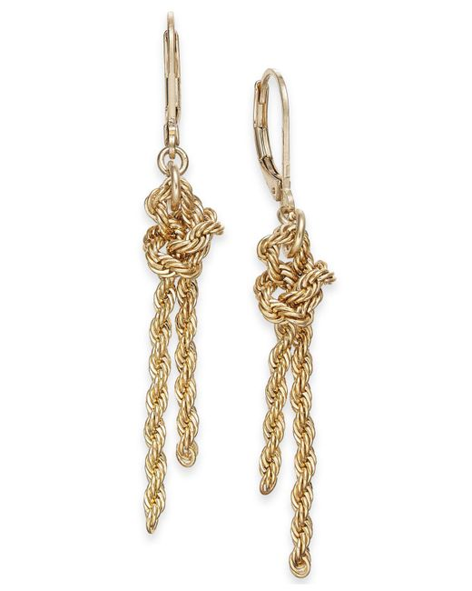 Charter Club - Metallic Gold-tone Knotted Rope Chain Drop Earrings, Created For Macy's - Lyst