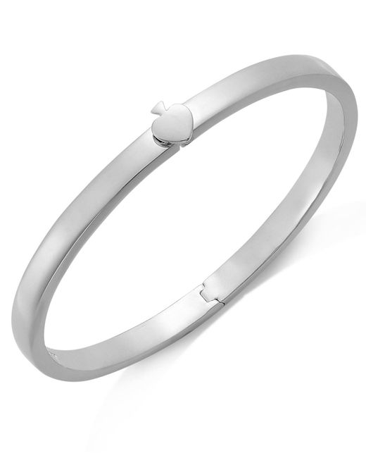 Kate Spade | Metallic Bracelet, Silver-tone Spade Thin Hinged Bangle Bracelet | Lyst