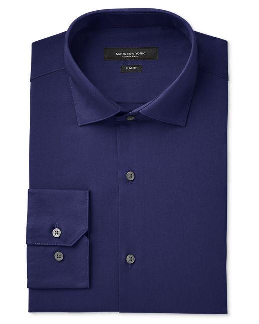 Marc New York   Blue Men's Slim-fit Wrinkle-free Solid Dress Shirt for Men   Lyst
