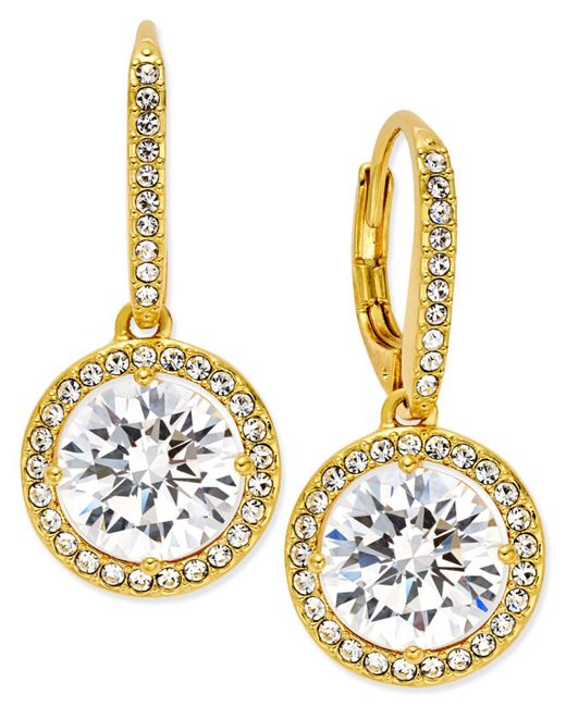 Danori - Metallic 18k Gold-plated Crystal Drop Earrings - Lyst