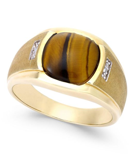 Macy's Metallic Men's Tiger Eye (10mm) And Diamond Accent Ring In 10k Gold