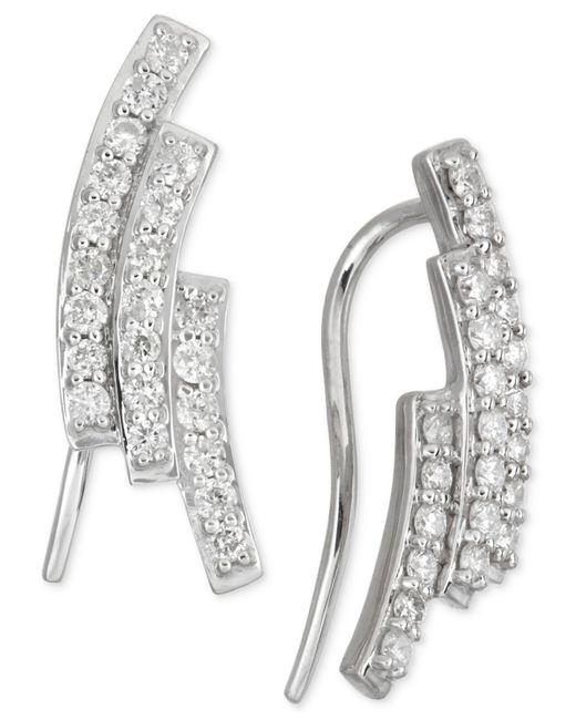 Macy's - Metallic Diamond Three-row Earrings (1/2 Ct. T.w.) In 14k White Gold - Lyst