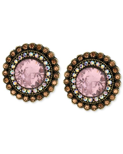 Betsey Johnson - Multicolor Gold-tone Crystal Gem Button Stud Earrings - Lyst