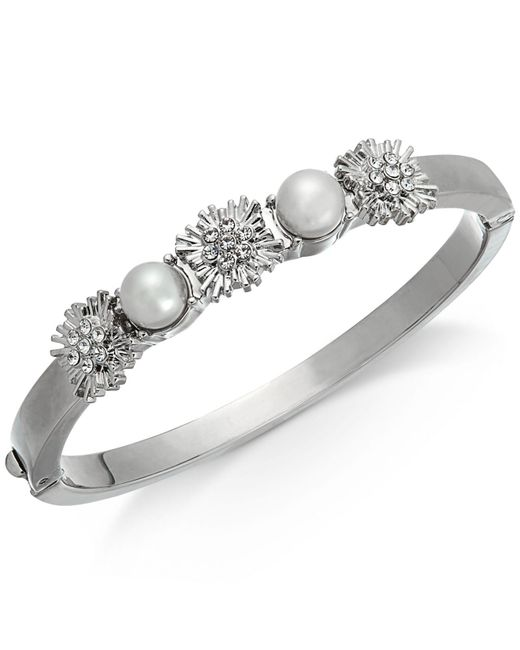 Charter Club | Metallic Silver-tone Pavé & Imitation Pearl Hinged Bangle Bracelet | Lyst