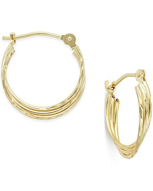 Macy's - Metallic Three-row Nested Hoop Earrings In 10k Gold - Lyst