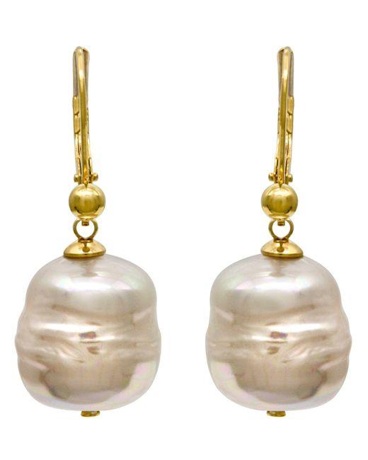 Majorica - Metallic 18k Gold Over Sterling Silver Earrings, Imitation Baroque Pearl Drop - Lyst
