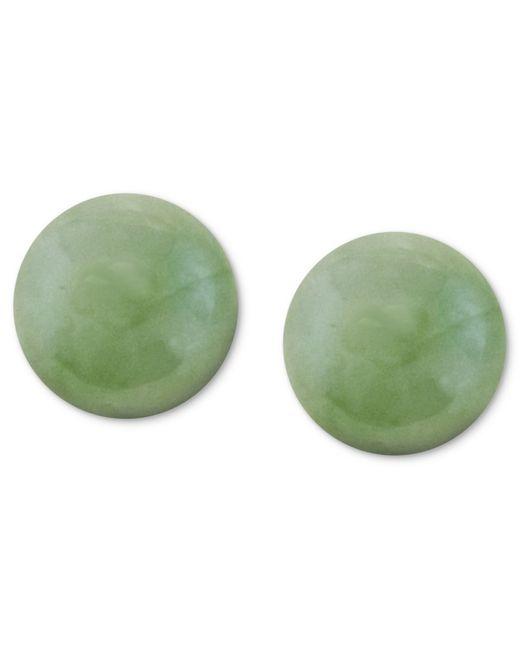 Macy's | Metallic 14k Gold Earrings, Jade Studs | Lyst