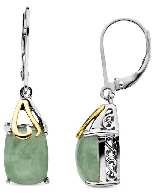 Macy's   Metallic 14k Gold And Sterling Silver Earrings, Jade Rectangle Drops (6 Ct. T.w.)   Lyst