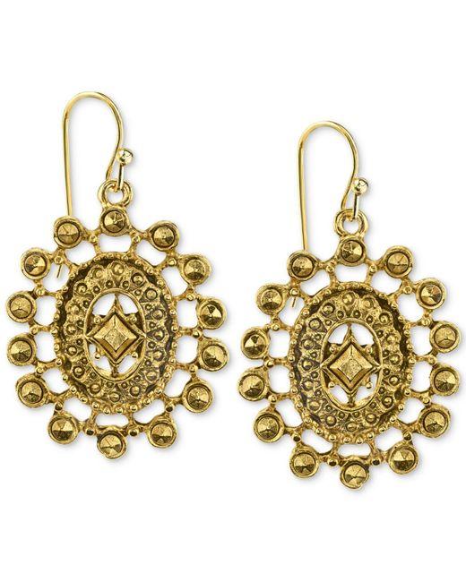 2028   Metallic Gold-tone Oval Filigree Drop Earrings   Lyst