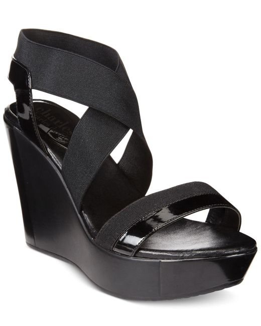 Charles David   Black Feature Wedge Sandals   Lyst