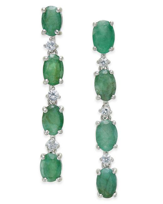 Macy's - Green Emerald (4 Ct. T.w.) & White Sapphire (1/5 Ct. T.w.) Drop Earrings In Sterling Silver - Lyst