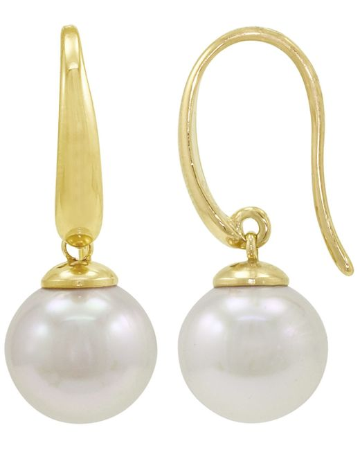 Majorica | White Pearl Earrings, 18k Gold Over Sterling Silver Organic Man Made Pearl Drops | Lyst
