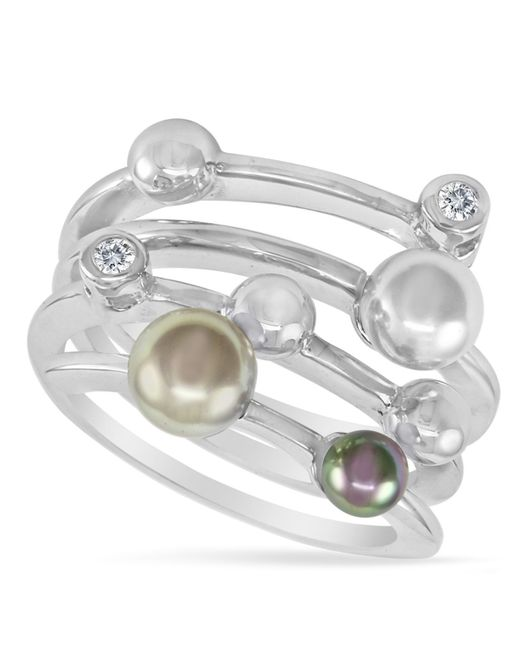 Majorica   White Endless Pearl Ring, Sterling Silver Multicolor Organic Man Made Pearl Ring   Lyst