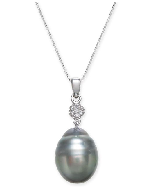 Macy's | Metallic Cultured Black Tahitian Pearl (12 Mm) And Diamond Accent Pendant Necklace In 14k White Gold | Lyst