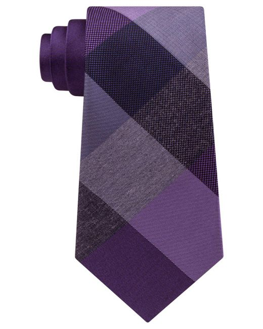 Kenneth Cole Reaction | Purple Men's Heather Box Panel Tie for Men | Lyst
