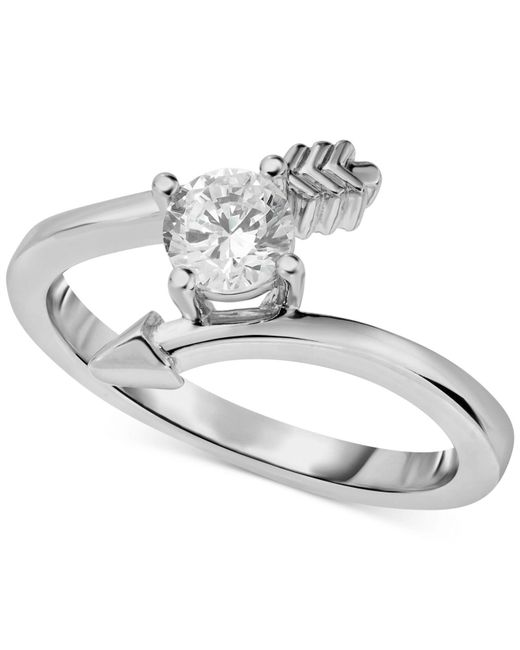 Macy's - Metallic Diamond Arrow Engagement Ring (1/2 Ct. T.w.) In 14k White Gold - Lyst