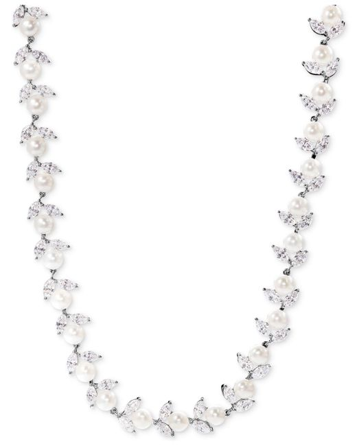 Arabella - Metallic Cultured Freshwater Pearl (6mm) And Swarovski Zirconia Collar Necklace In Sterling Silver - Lyst