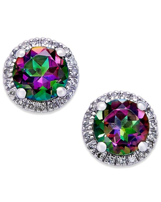 Macy's | Metallic Mystic Topaz (1-4/5 Ct. T.w.) And Diamond (1/8 Ct. T.w.) Round Stud Earrings In 14k White Gold | Lyst